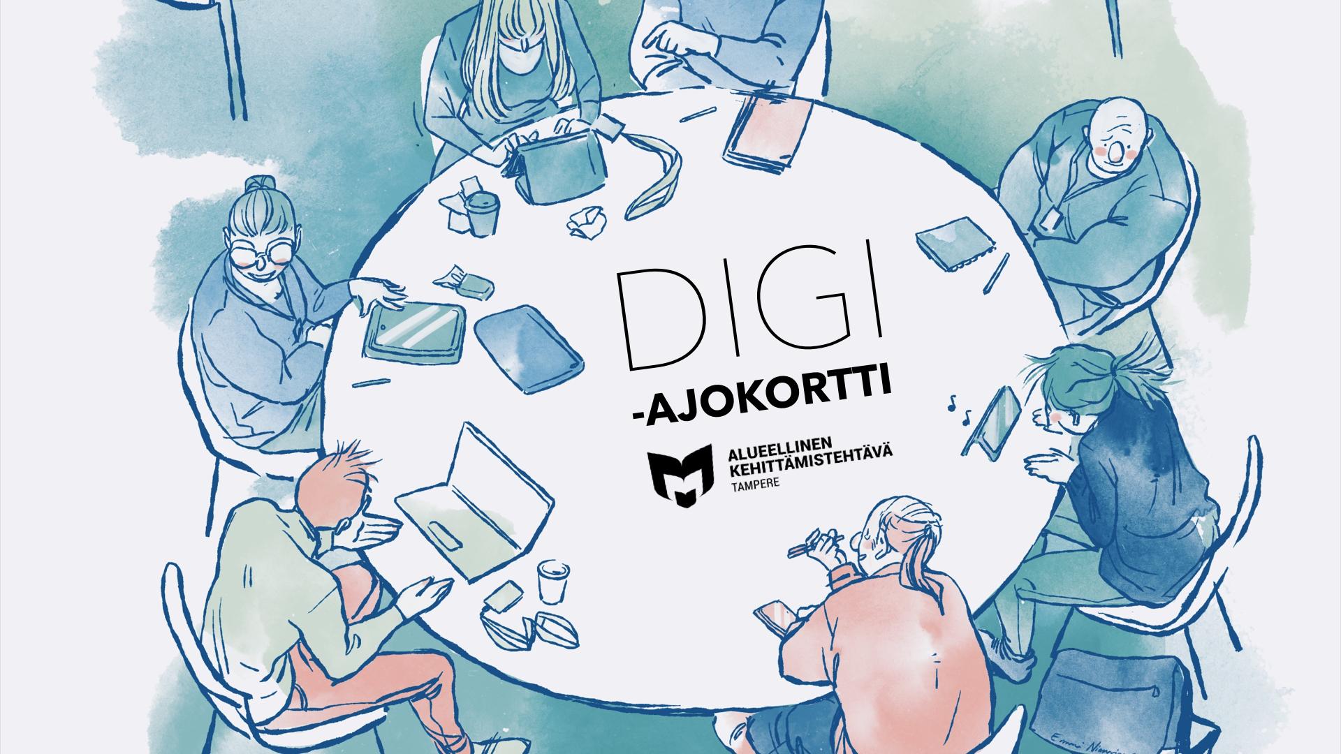 Kuvassa piirroshahmot ovat istumassa pyöreän pöydän ympärillä. Heillä on erilaisia digilaitteita ja he pohtivat yhdessä digiasioita. Kuvassa on myös Digiajokortti-logo.