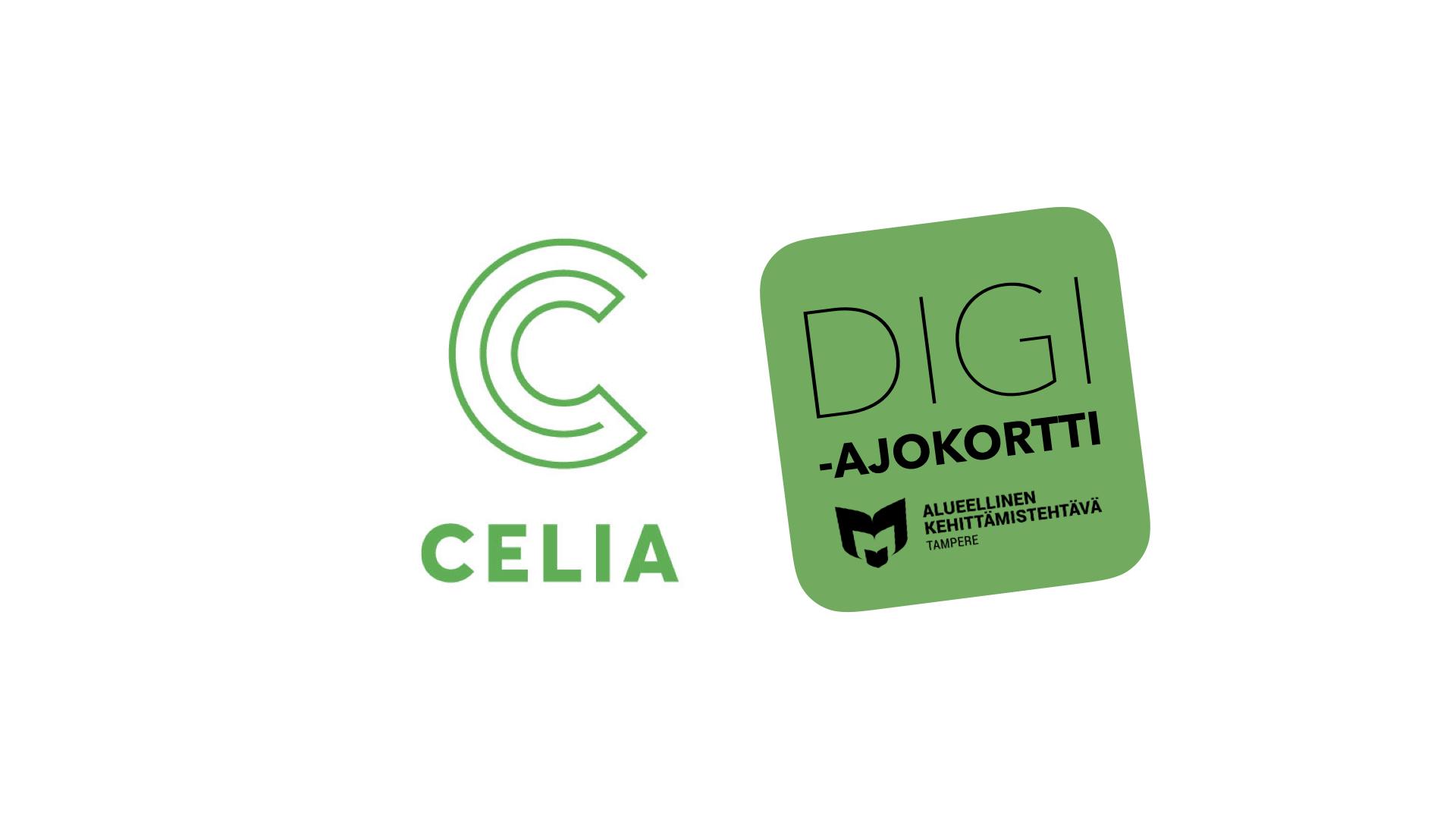 Kuvassa on Celian tunnus ja digiajokortin logo.