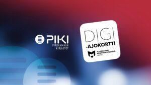 Kuvassa on punasininen PIKI-ilme, PIKI-kirjastojen logo ja Digiajokortti-logo.