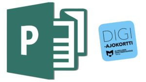 Kuvassa on Publisher-logo ja Digiajokortin logo.