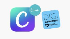 Kuvassa on Canva-ohjelman logo ja myös digiajokortti-logo.
