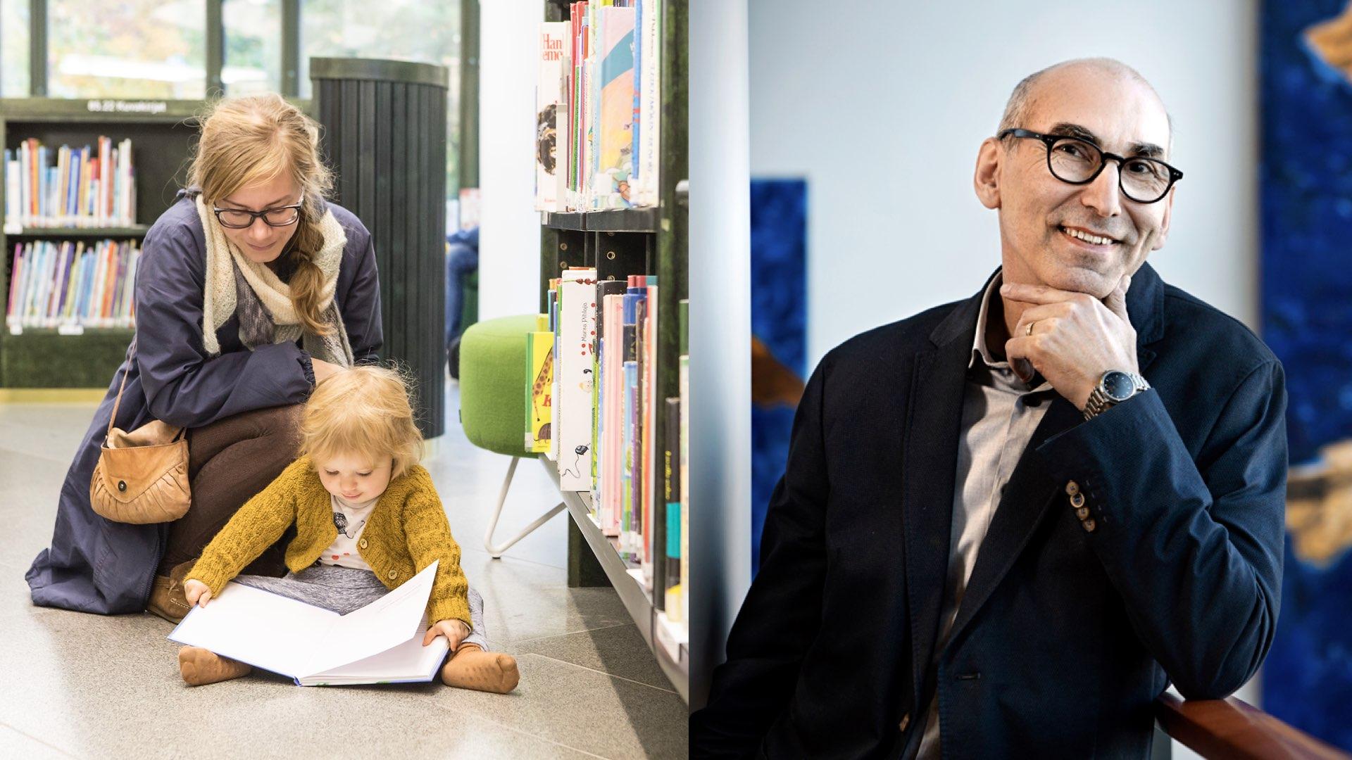 Kuvassa äiti ja lapsi lukevat kirjaa kirjastossa. Toisessa kuvassa Juha T. Hakala katsoo ja hymyilee.