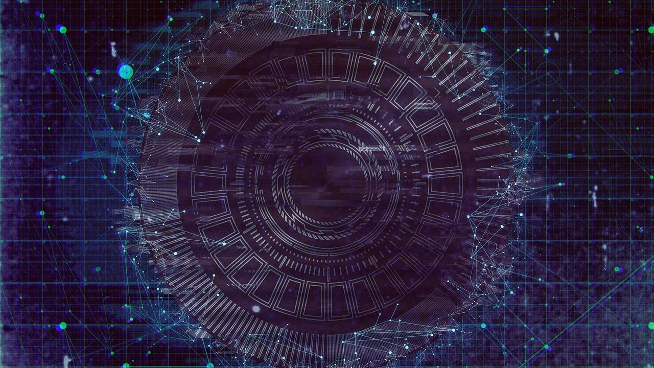 Kuvassa on avaruudellinen tummansininen tausta. Kuvan etualalla on ympyränmuotoinen teknologiaverkosto.