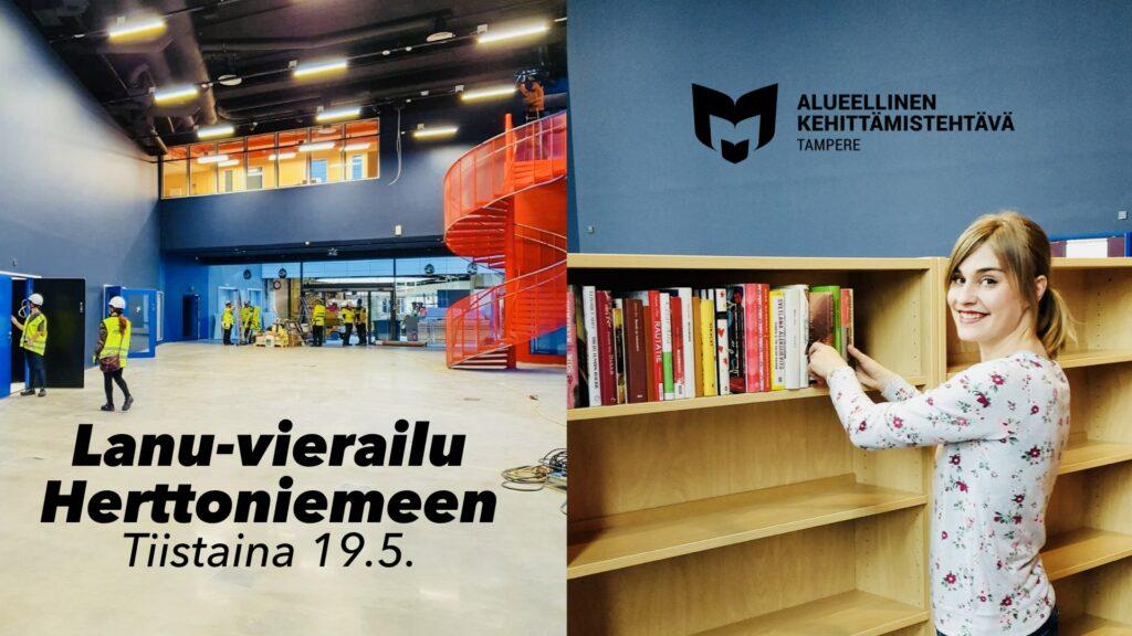 Kuvassa on rakenteilla oleva Herttoniemen uusi kirjasto sekä lukuaktivisti Henriika Tulivirta.