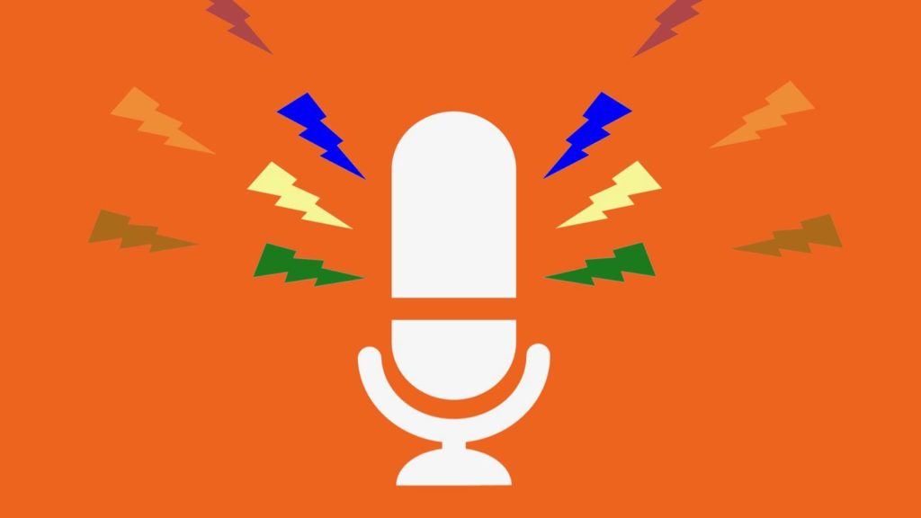 Kuvassa on piirretty mikrofonin kuva oranssilla taustalla.