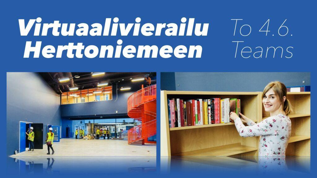 Kuvassa kaksi kuvaa Herttoniemen kirjastosta. Toisessa rakennusvaiheessa oleva kirjastotila ja toisessa kirjastovirkalija hyllyttää aineistoa.