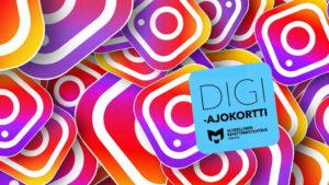 Kuvassa on Instagram-logoja sekä digiajokortin logo