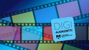 Kuvassa on erivärisiä filminauhoja ja digiajokortin logo.