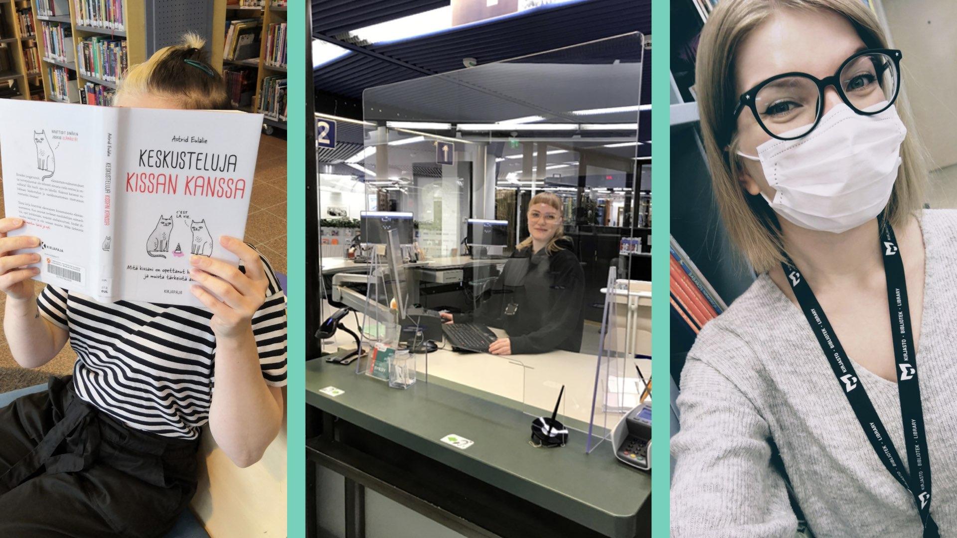 Kuvassa informaatiotutkimuksen harjoittelijat työtehtävissä Tampereen kaupunginkirjastossa syksyllä 2020.