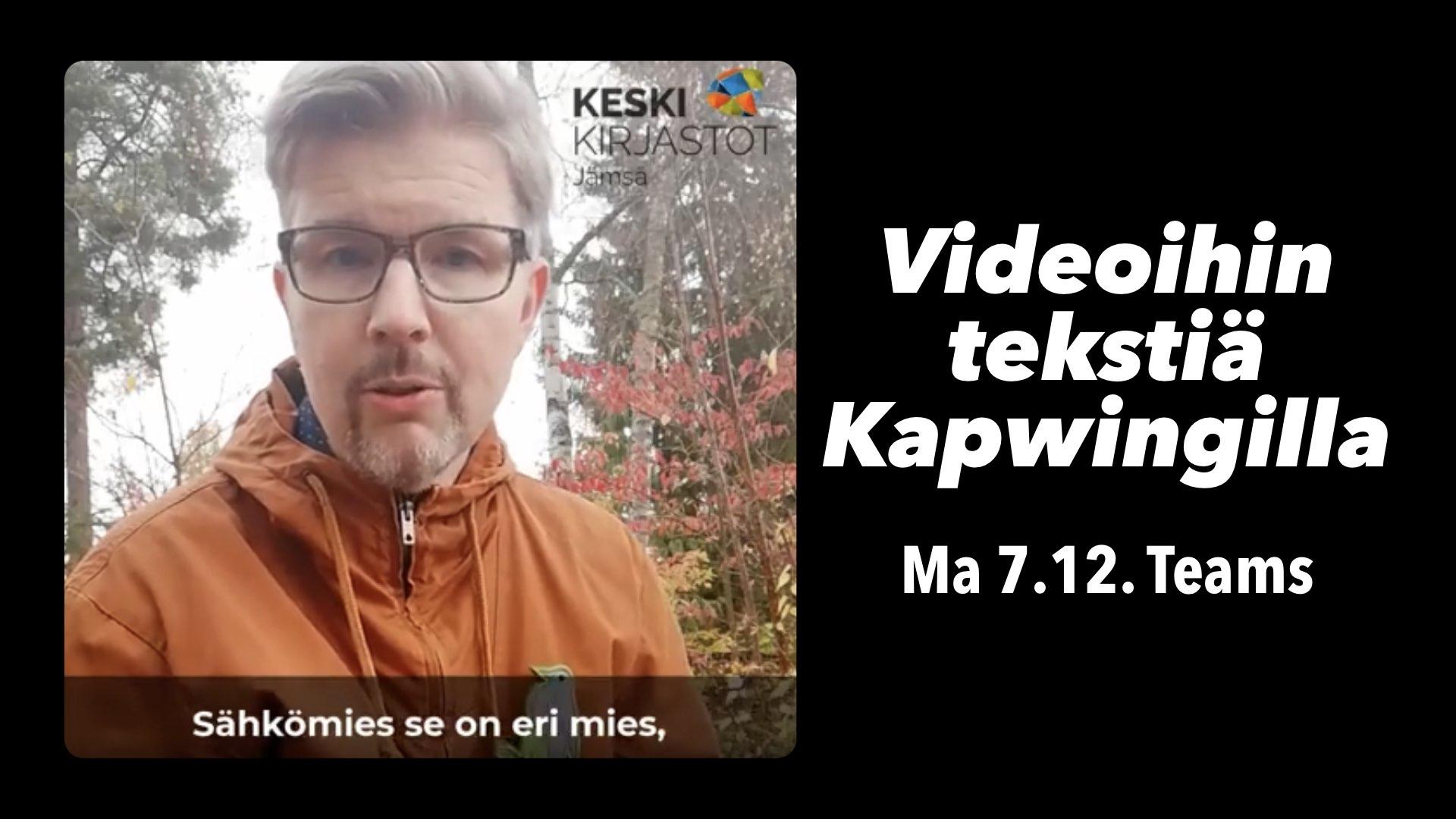 Kuvassa kirjastonhoitaja Tommi Tapiainen videovinkkaamassa ja koulutuksen otsikko.