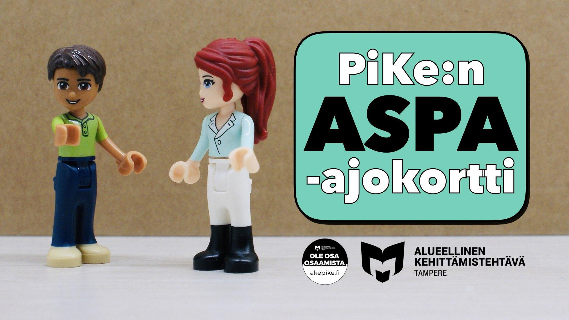 Kuvassa kaksi LEGO-hahmoa ja teksti PiKe:n ASPA-ajokortti.
