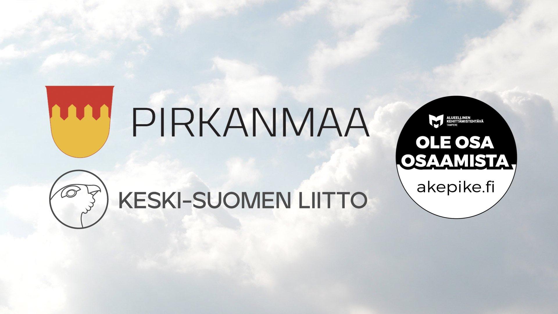 Kuvassa on Pirkanmaan liiton logo, Keski-Suomen liiton logo sekä Akepiken tekstitunnus ja verkko-osoite.