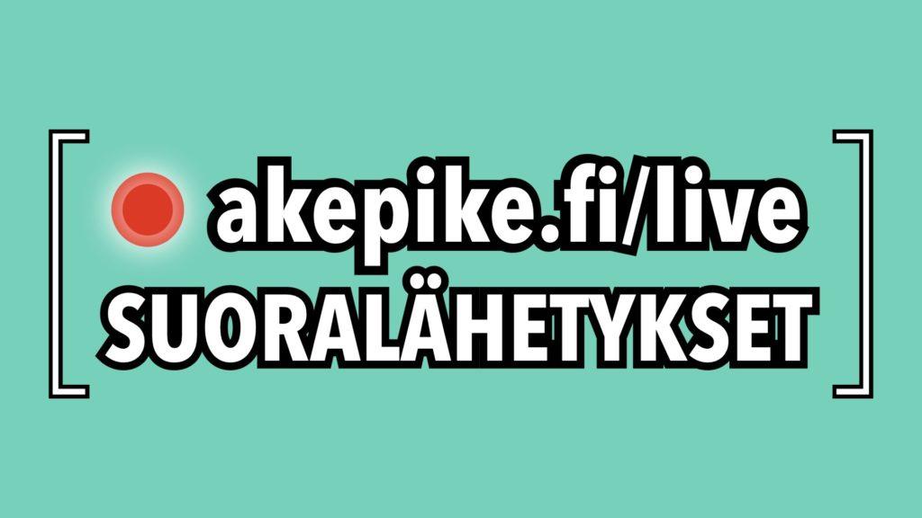 Kuvituskuva akepike.fi/live -tekstillä.