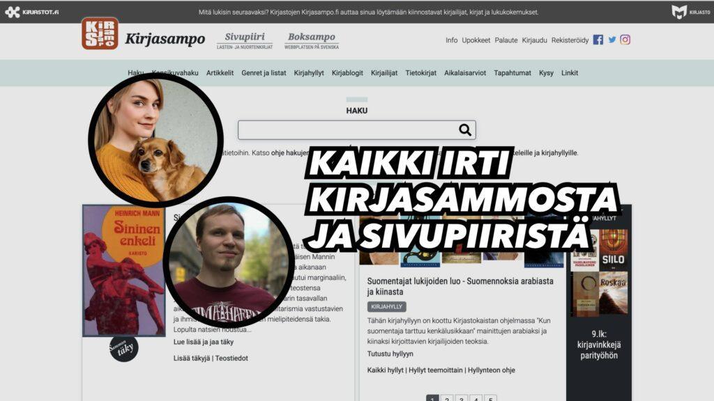 Kuvassa Kirjasammon etusivu sekä kouluttajat Henriika Tulivirta ja Tuomas Aitonurmi.