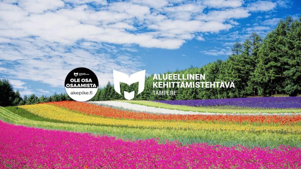 Kuvituskuva, jossa erivärisiä kukkia niityllä sekä alueellisen kehittämistehtävän tunnus ja Ole osa osaamista -logotunniste.